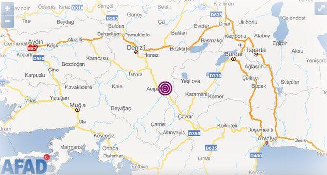 Denizli'de 5.5 büyüklüğünde deprem