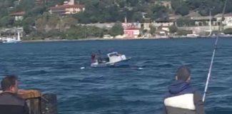 Boğaz'da kaçak midye avlayan tekne battı