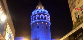 Galata Kulesi maviye büründü! 2 gece sürecek