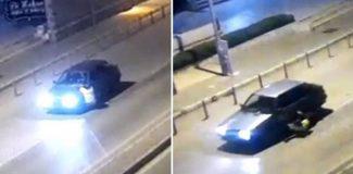 Alkollü sürücü, polisi 400 metre kaputta taşıdığı anlar kamerada