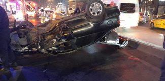 D-100 Karayolu'nda otomobil takla attı: 1 yaralı