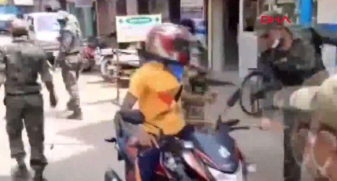 Hint polisinden sokağa çıkma yasağına uymayanlara meydan dayağı