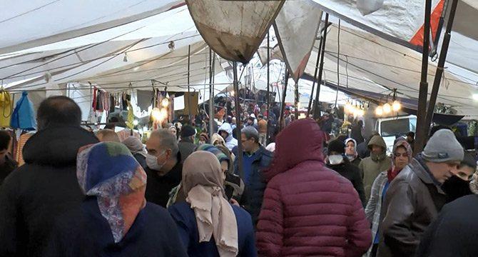 Güngören'de semt pazarında koronavirüs tedbirlerine uyulmadı
