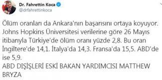 Bakan Koca, ABD'li eski bakan yardımcısının 'Türkiye' açıklamasını paylaştı
